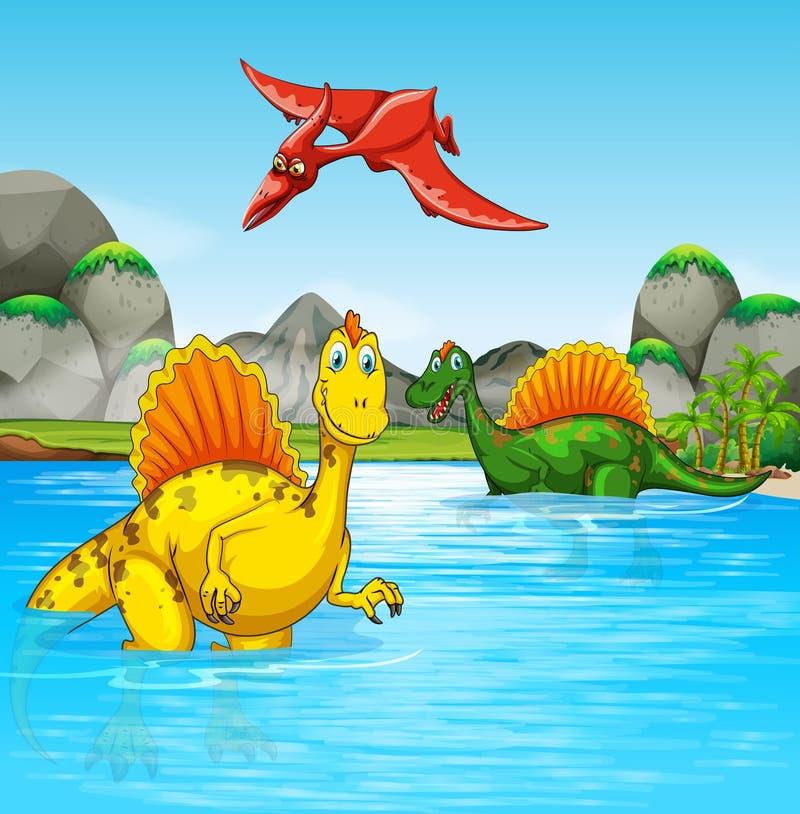 Προϊστορικοί δεινόσαυροι σε μια σκηνή νερού ελεύθερη απεικόνιση δικαιώματος
