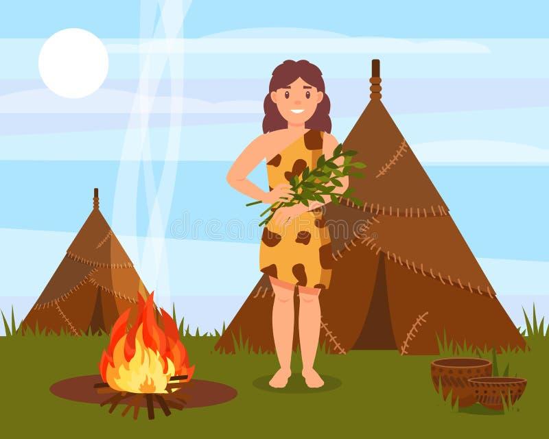 Προϊστορικός cavewoman χαρακτήρας που στέκεται δίπλα στο σπίτι φιαγμένο από ζωικά δέρματα, φυσικό διάνυσμα τοπίων εποχής του λίθο διανυσματική απεικόνιση