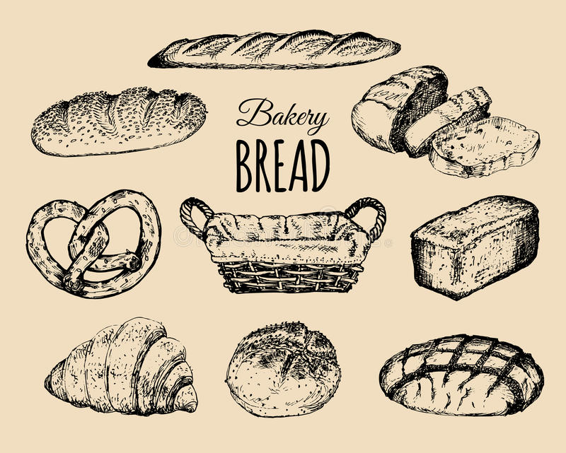 Προϊόντα αρτοποιίας καθορισμένα Συλλογή ψωμιού Συρμένες χέρι φραντζόλες, croissant, bagel κ.λπ. απεικόνιση με το ψάθινο καλάθι Ση απεικόνιση αποθεμάτων