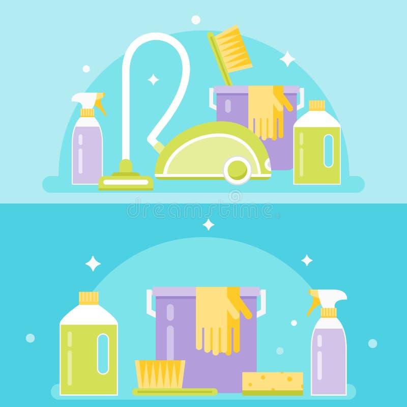 Προϊόντα καθαρισμού, εργαλεία και συσκευές Καθαρίζοντας απεικόνιση υπηρεσιών διανυσματική απεικόνιση