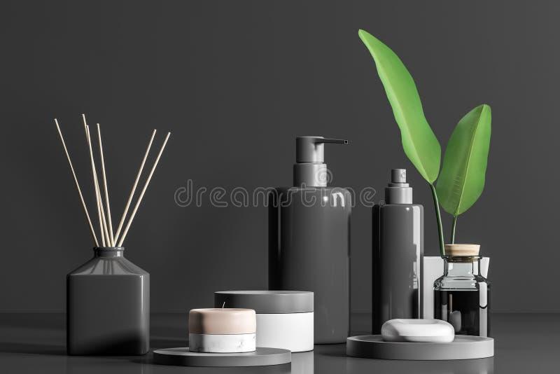 Προϊόντα και κρέμες SPA στο επιτραπέζιο γκρίζο υπόβαθρο απεικόνιση αποθεμάτων