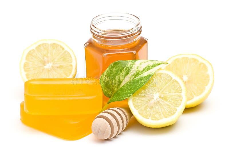 Προϊόντα μελιού lemon spa στοκ φωτογραφία