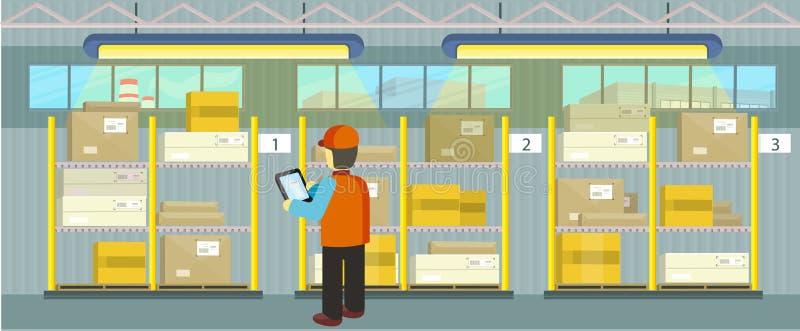 Προϊόντα στην αποθήκη εμπορευμάτων ραφιών διανυσματική απεικόνιση