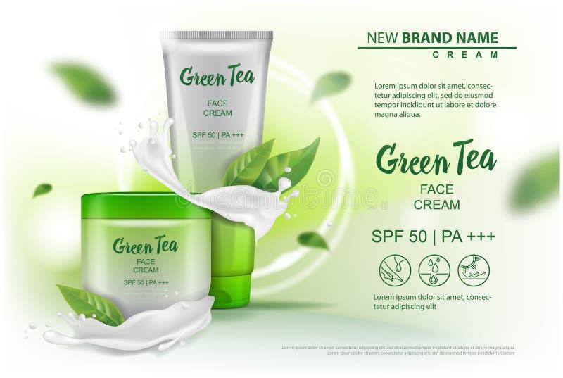 Προϊόν καλλυντικών σχεδίου με το πράσινο εκχύλισμα τσαγιού που διαφημίζει για τον κατάλογο, περιοδικό Διανυσματική χλεύη επάνω τη ελεύθερη απεικόνιση δικαιώματος