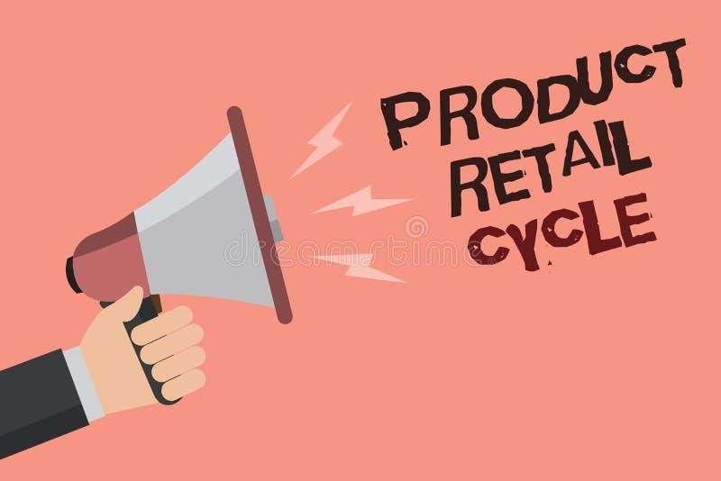 Προϊόν κειμένων γραψίματος λέξης λιανικός κύκλος Η επιχειρησιακή έννοια για καθώς το εμπορικό σήμα προχωρεί μέσω της ακολουθίας σ ελεύθερη απεικόνιση δικαιώματος