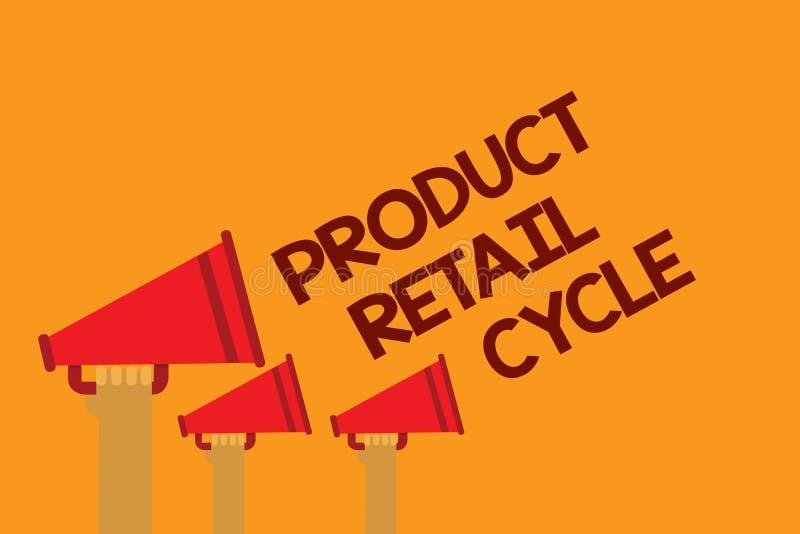 Προϊόν κειμένων γραψίματος λέξης λιανικός κύκλος Η επιχειρησιακή έννοια για ως εμπορικό σήμα προχωρεί μέσω της ακολουθίας σταδίων διανυσματική απεικόνιση