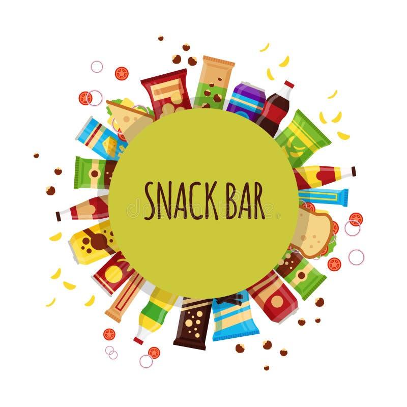 Προϊόν πρόχειρων φαγητών με τον κύκλο Τα πρόχειρα φαγητά γρήγορου φαγητού, πίνουν, καρύδια, τσιπ, κροτίδα, χυμός, σάντουιτς για τ ελεύθερη απεικόνιση δικαιώματος