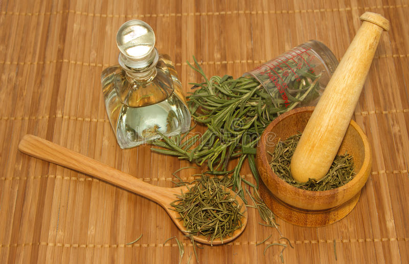 Προϊόν της Rosemary, μπουκάλι πετρελαίου της Rosemary και κονίαμα με φρέσκο και στοκ εικόνες με δικαίωμα ελεύθερης χρήσης