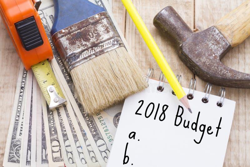 Προϋπολογισμός για να κάνει τις εσωτερικές επισκευές το 2018 στοκ εικόνες