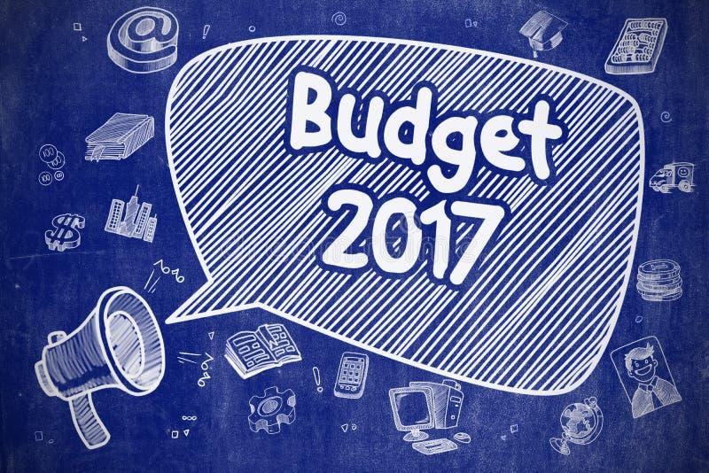 Προϋπολογισμός 2017 - απεικόνιση κινούμενων σχεδίων στον μπλε πίνακα κιμωλίας απεικόνιση αποθεμάτων