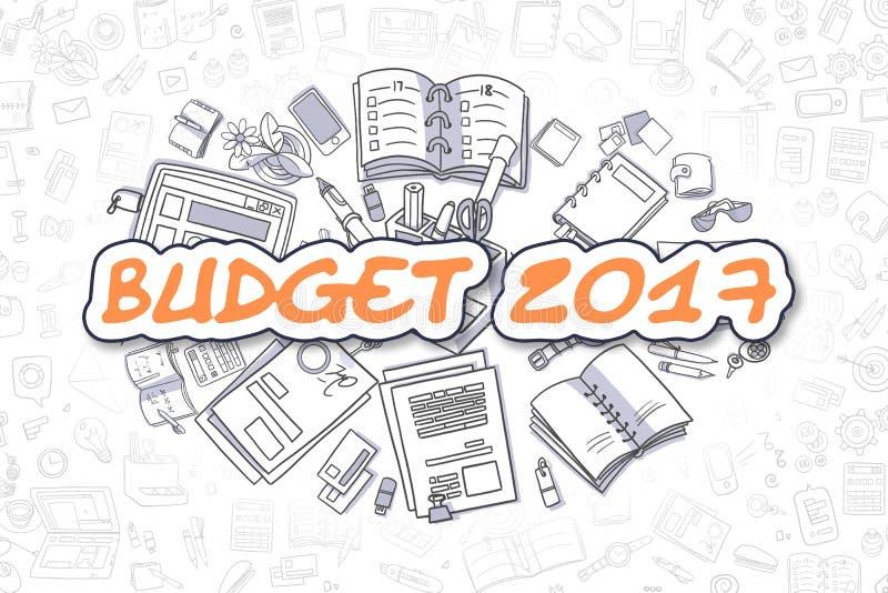 Προϋπολογισμός 2017 - κινούμενα σχέδια το πορτοκαλί Word χρυσή ιδιοκτησία βασικών πλήκτρων επιχειρησιακής έννοιας που φθάνει στον απεικόνιση αποθεμάτων