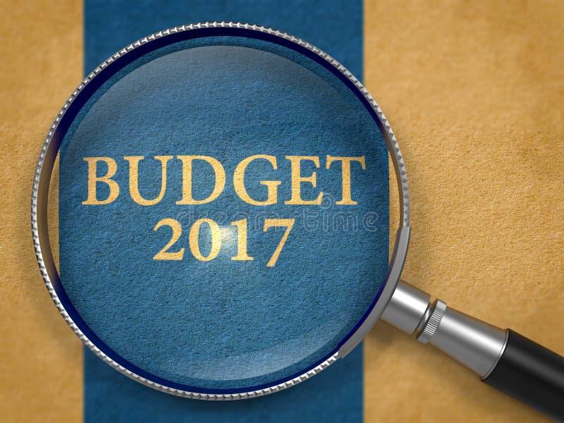 Προϋπολογισμός 2017 μέσω του φακού σε παλαιό χαρτί τρισδιάστατος απεικόνιση αποθεμάτων