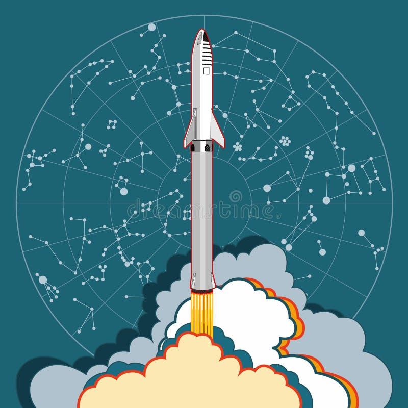 Προώθηση διαστημοπλοίων πυραύλων και χάρτης αστεριών Διανυσματική αναδρομική απεικόνιση ύφους Διανυσματικό διαστημόπλοιο κινούμεν διανυσματική απεικόνιση
