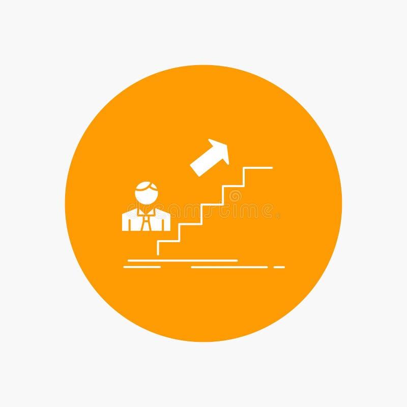 προώθηση, επιτυχία, ανάπτυξη, ηγέτης, άσπρο εικονίδιο Glyph σταδιοδρομίας στον κύκλο Διανυσματική απεικόνιση κουμπιών διανυσματική απεικόνιση