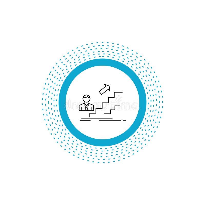 προώθηση, επιτυχία, ανάπτυξη, ηγέτης, εικονίδιο γραμμών σταδιοδρομίας : απεικόνιση αποθεμάτων