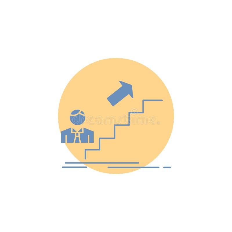 προώθηση, επιτυχία, ανάπτυξη, ηγέτης, εικονίδιο Glyph σταδιοδρομίας ελεύθερη απεικόνιση δικαιώματος