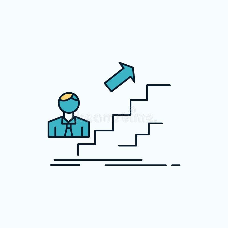 προώθηση, επιτυχία, ανάπτυξη, ηγέτης, επίπεδο εικονίδιο σταδιοδρομίας r διανυσματική απεικόνιση