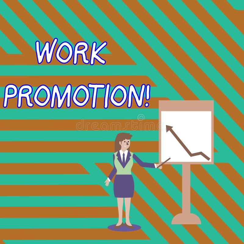 Προώθηση εργασίας κειμένων γραψίματος λέξης Επιχειρησιακή έννοια για την πρόοδο ενός υπαλλήλου μέσα σε μια θέση επιχείρησης ελεύθερη απεικόνιση δικαιώματος