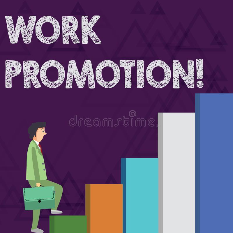 Προώθηση εργασίας κειμένων γραψίματος λέξης Επιχειρησιακή έννοια για την πρόοδο ενός υπαλλήλου μέσα σε έναν επιχειρηματία θέσης ε ελεύθερη απεικόνιση δικαιώματος