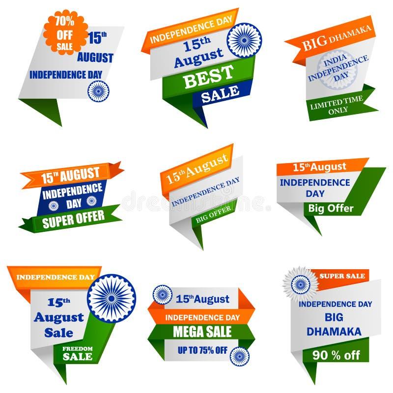 Προώθηση και διαφήμιση πώλησης για την ευτυχή ημέρα της ανεξαρτησίας την 15η Αυγούστου της Ινδίας απεικόνιση αποθεμάτων