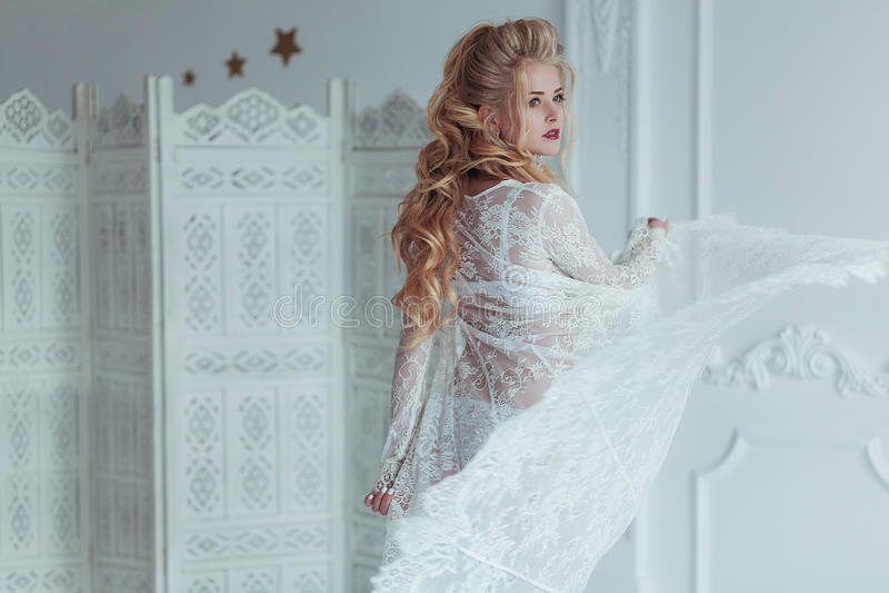 Πρωί της νύφης Όμορφη νέα γυναίκα στο άσπρο παιχνίδι ρομπών με το πέπλο το φόρεμα αναπτύσσεται στον αέρα κορίτσι ευτυχές στοκ εικόνα με δικαίωμα ελεύθερης χρήσης