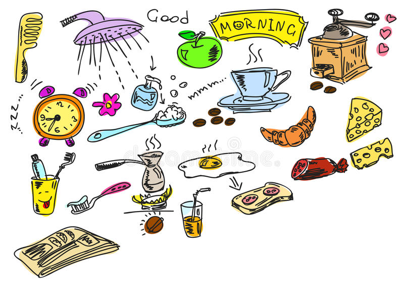 Πρωί doodles διανυσματική απεικόνιση