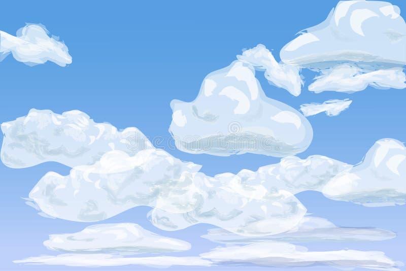 Πρωινός ουρανός με τα βαλμένα σε στρώσεις σύννεφα σωρειτών, απεικόνιση ελεύθερη απεικόνιση δικαιώματος