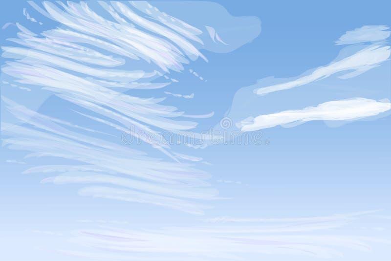Πρωινός ουρανός με τα μαλακά σύννεφα spindrift, διανυσματική απεικόνιση απεικόνιση αποθεμάτων