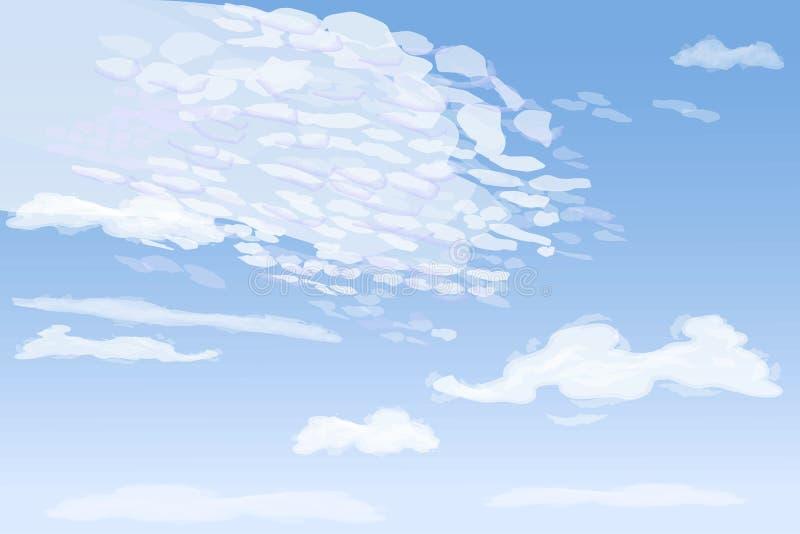Πρωινός ουρανός με τα υψηλά σύννεφα spindrift, απεικόνιση απεικόνιση αποθεμάτων