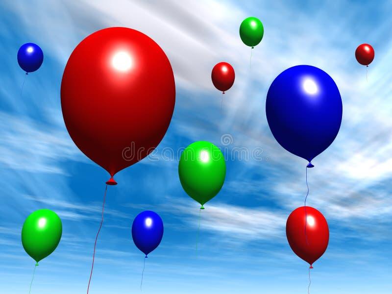 πρωινός ουρανός μπαλονιών διανυσματική απεικόνιση