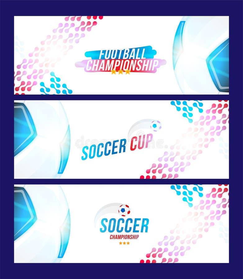 Πρωτάθλημα ποδοσφαίρου Καθορισμένο οριζόντιο σχήμα προτύπων εμβλημάτων με μια σφαίρα και ένα κείμενο ποδοσφαίρου σε ένα υπόβαθρο  ελεύθερη απεικόνιση δικαιώματος