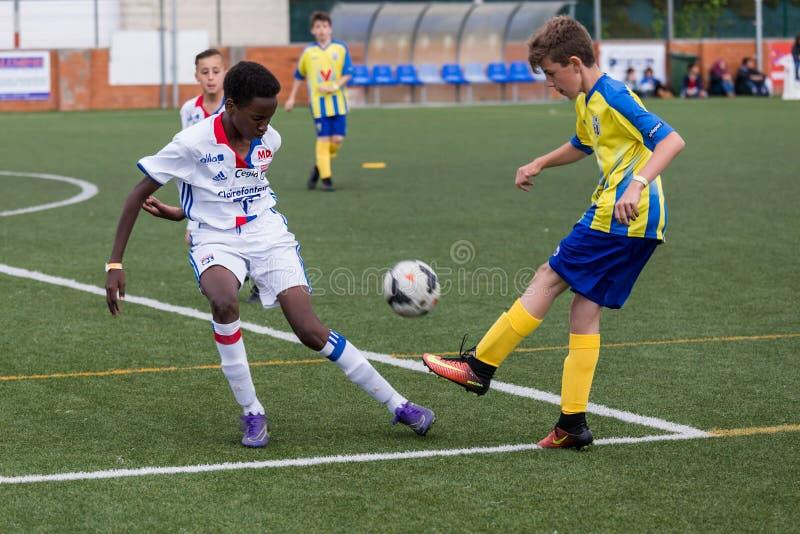 Πρωτάθλημα ποδοσφαίρου παιδιών ` s σε Sant Antoni de Calonge στην Ισπανία στοκ εικόνες