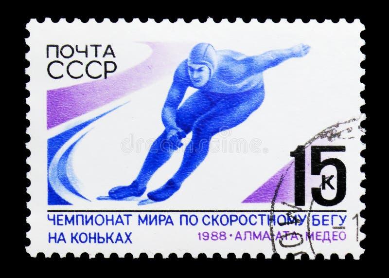 Πρωταθλήματα πατινάζ παγκόσμιας ταχύτητας, circa 1988 στοκ φωτογραφία