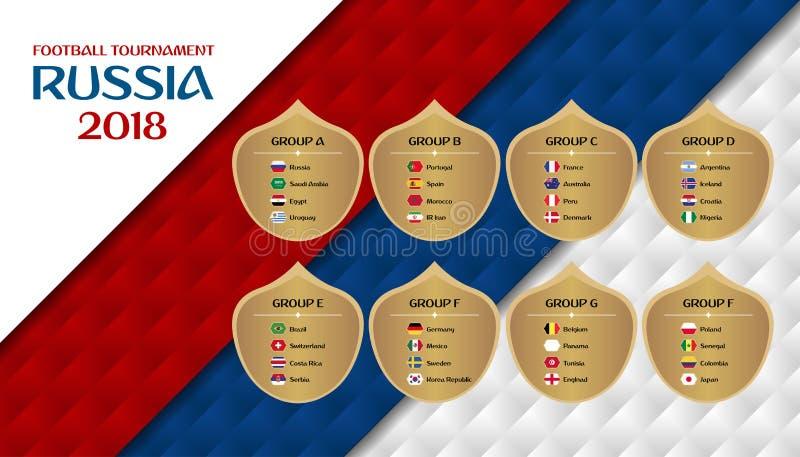 Πρωταθλήματα Ρωσία ποδοσφαίρου 2018 ομάδες Πρότυπο σχεδίου με το cou απεικόνιση αποθεμάτων