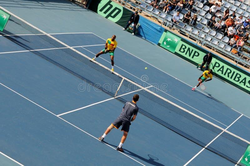 Πρωταθλήματα αντισφαίρισης φλυτζανιών του Νταίηβις, Κύπρος ενάντια στο Μπενίν στοκ εικόνα με δικαίωμα ελεύθερης χρήσης