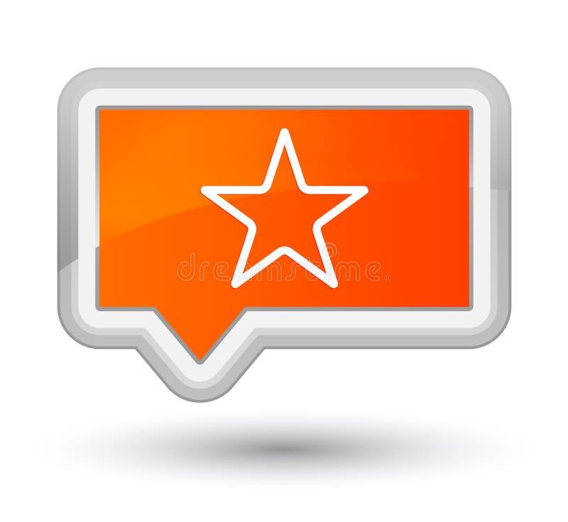 Πρωταρχικό πορτοκαλί κουμπί εμβλημάτων εικονιδίων αστεριών ελεύθερη απεικόνιση δικαιώματος