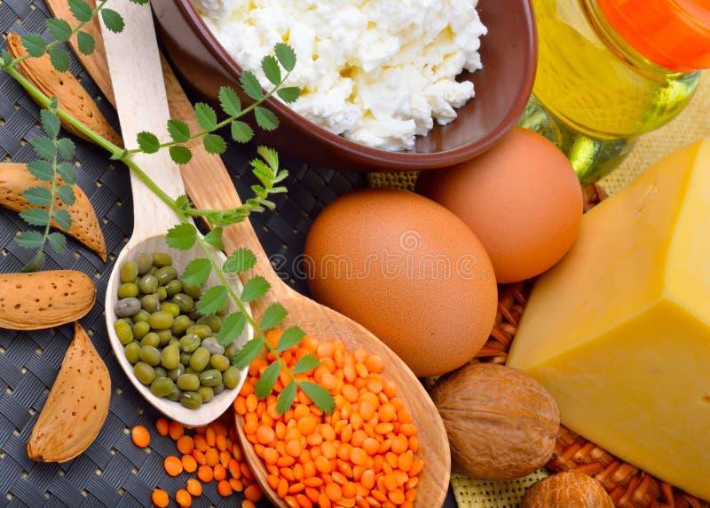 Πρωτεϊνικά τρόφιμα: αυγά, αμύγδαλα, φακές, τυρί, ξύλο καρυδιάς, και στάρπη στοκ φωτογραφία