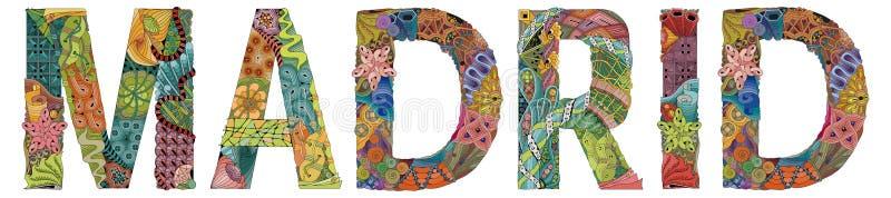 Πρωτεύουσα της πόλης Μαδρίτη της Ισπανίας Διανυσματικό διακοσμητικό αντικείμενο zentangle για τη διακόσμηση διανυσματική απεικόνιση