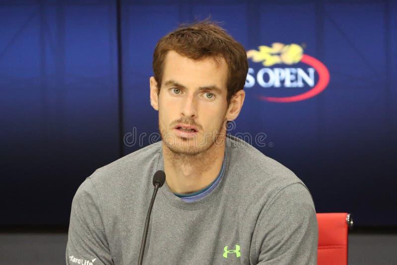 Πρωτοπόρος Andy Murray του Grand Slam της Μεγάλης Βρετανίας κατά τη διάρκεια της συνέντευξης τύπου στο εθνικό κέντρο αντισφαίριση στοκ εικόνα με δικαίωμα ελεύθερης χρήσης