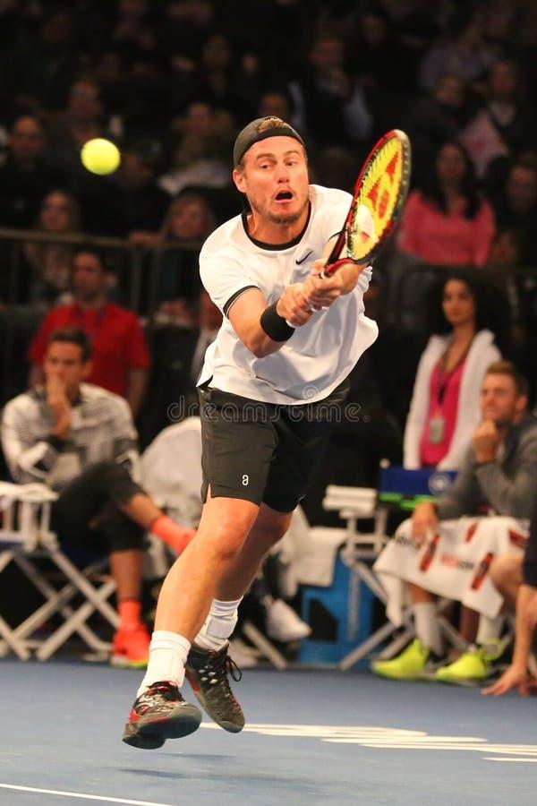 Πρωτοπόρος Lleyton Hewitt του Grand Slam της Αυστραλίας στη δράση κατά τη διάρκεια του 10ου γεγονότος αντισφαίρισης επετείου της  στοκ εικόνα