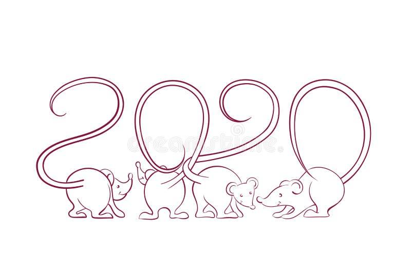 2020 Πρωτοχρονιάτικη κάρτα με σιλουέτες ποντικιού με γράμματα που συστρέφονται με τη μορφή αριθμών απομονωμένων σε λευκό ελεύθερη απεικόνιση δικαιώματος