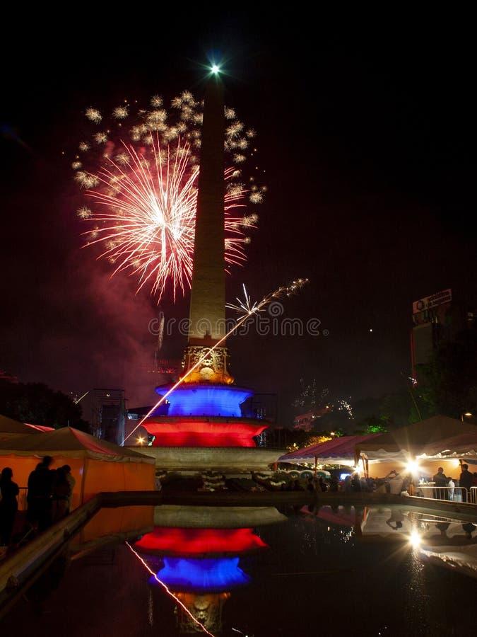 Πρωτοχρονιάτικος εορτασμός με πυροτεχνήματα στην Πλατεία Αλταμίρα ή στην Πλατεία Αλταμίρα, στην Πλατεία Φραγκίας Καράκας στοκ εικόνα
