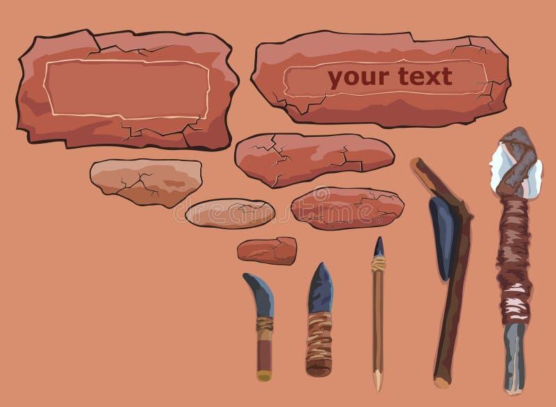 πρωτόγονα εργαλεία πετρώ& απεικόνιση αποθεμάτων