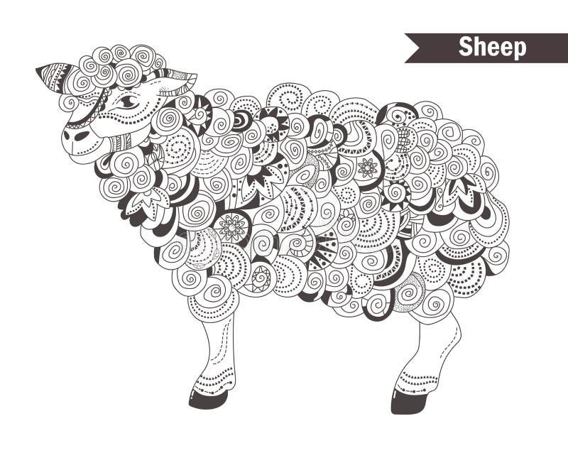 Πρόβατα γραφική απεικόνιση χρωματισμού βιβλίων ζωηρόχρωμη ελεύθερη απεικόνιση δικαιώματος