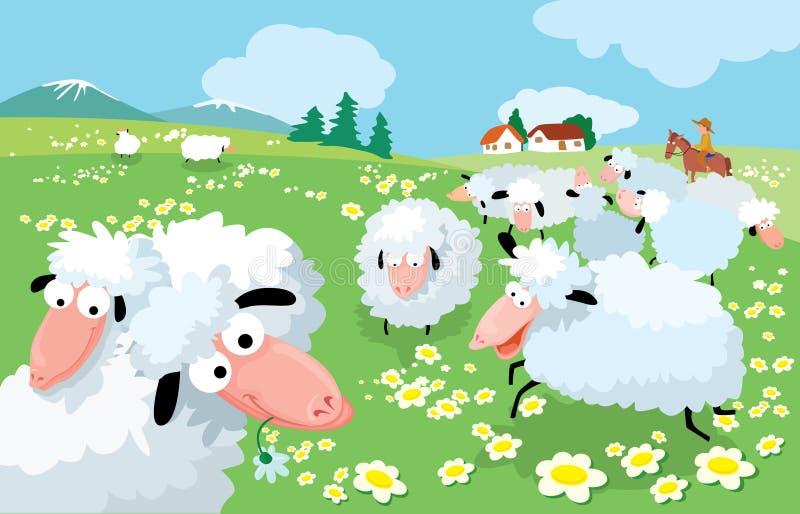 πρόβατα διασταύρωσης ελεύθερη απεικόνιση δικαιώματος