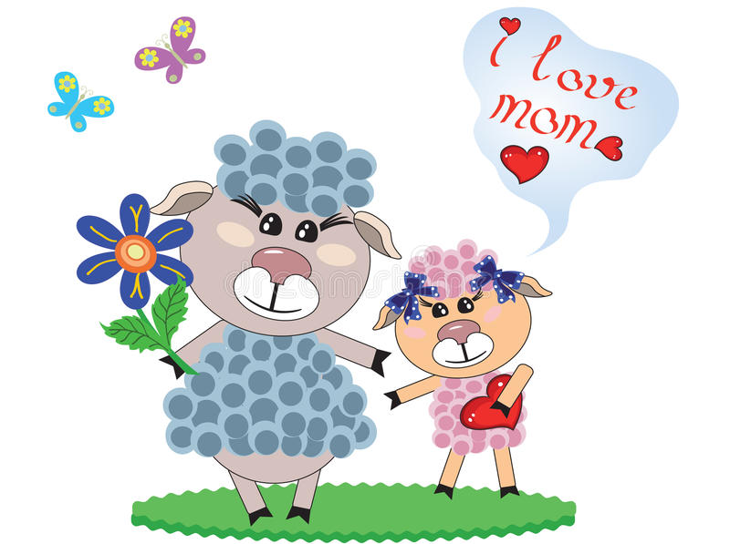 πρόβατα δύο μητέρων ημέρας διανυσματική απεικόνιση