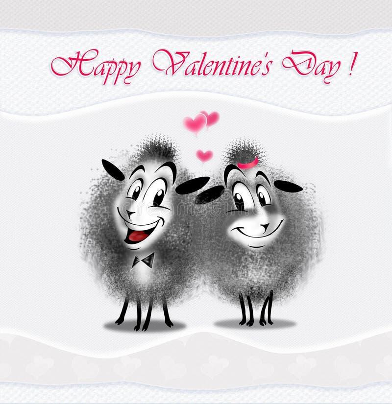 Πρόβατα ζευγών αγάπης διανυσματική απεικόνιση