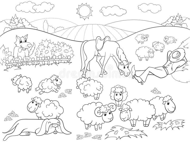 Πρόβατα λιβαδιού με έναν χρωματισμό ποιμένων και σκυλιών για τη διανυσματική απεικόνιση κινούμενων σχεδίων παιδιών διανυσματική απεικόνιση