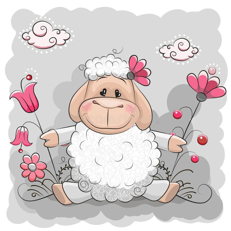 Πρόβατα με τα λουλούδια διανυσματική απεικόνιση