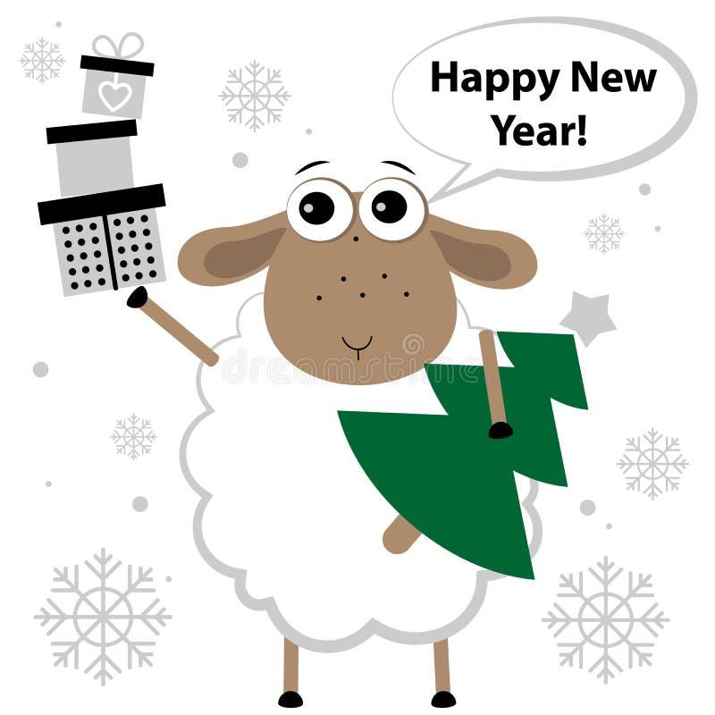 Πρόβατα με τα δώρα και το χριστουγεννιάτικο δέντρο διανυσματική απεικόνιση